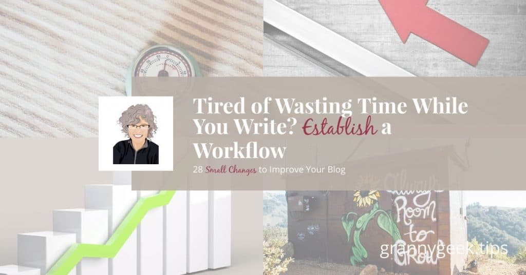 Want to increase your productivity? Try to establish a workflow that works for you and helps you save time. Watch this video of my workflow to get ideas for yours! #blogger #workflow #increase #establish #savetime #amwriting #bloggrowth #write28days #goals
