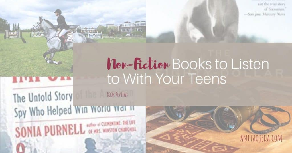 Need a book to listen to while you travel? Check out these two non-fiction books that will keep you and your teenagers entertained during long car rides. Or sheltering in place. #amlistening #audible #bookreview #nonfiction #horse #spy #teens
