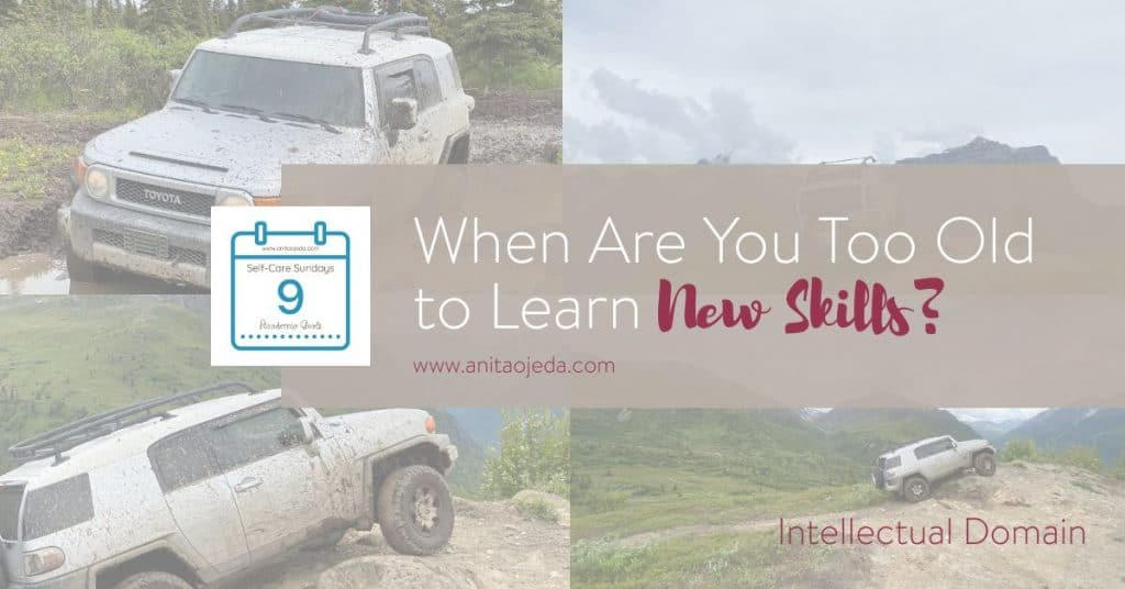 Intellectual goals don't have to be all about book learning. Any time we use our mind to learn a new task, we use our intellect. And we don't have to stop learning just because grey hairs start sprouting on our heads! What do you want to learn? #goalsetting #goals #growthmindset #rocksliders #FJCruiser #SMARTERgoals #intellectualgoals #selfcare #podcaster #selfcarehacks